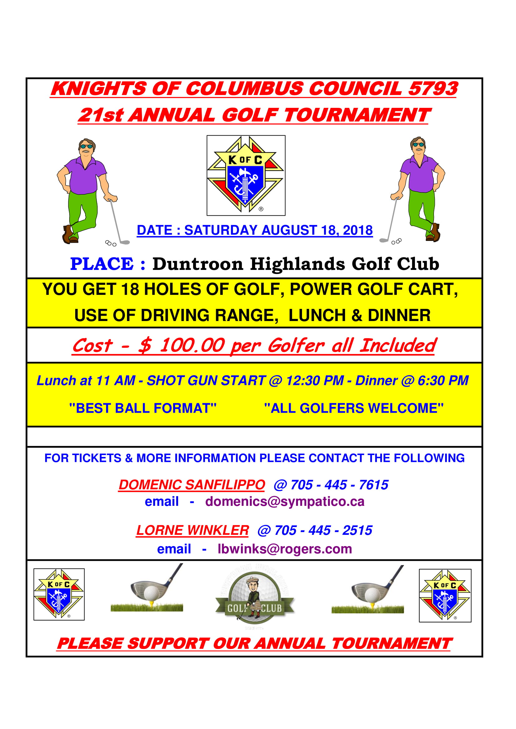 Knights 21st Annual Golf Tournament