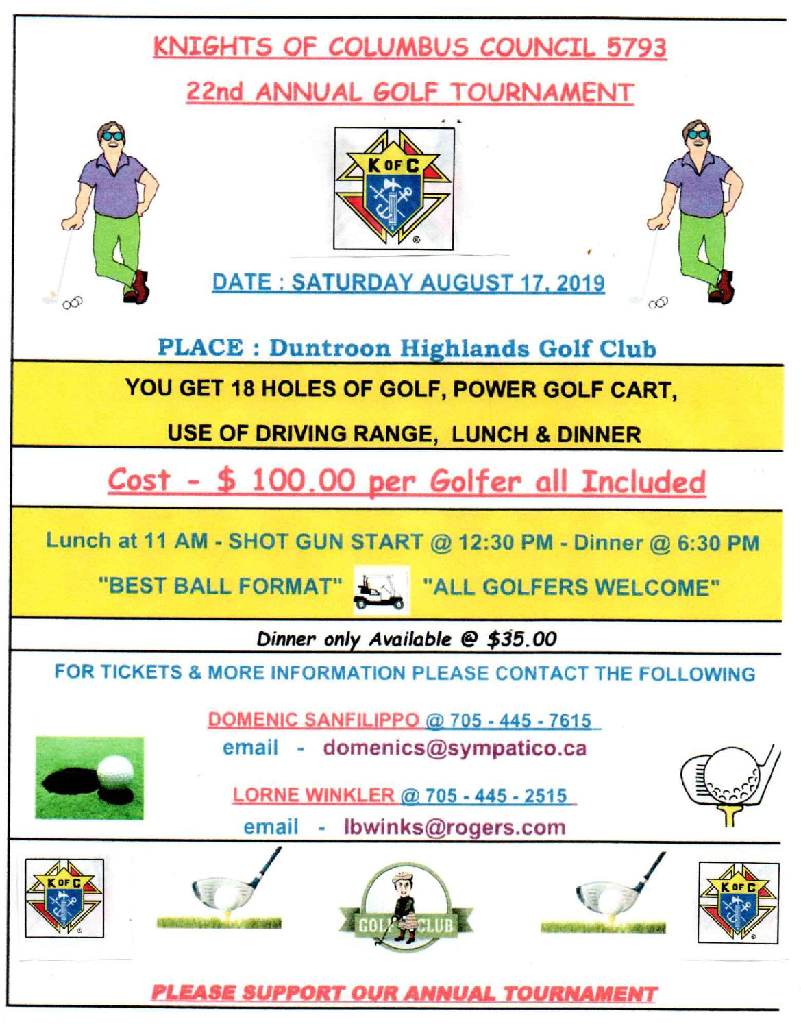 Knights 22nd Annual Golf Tournament